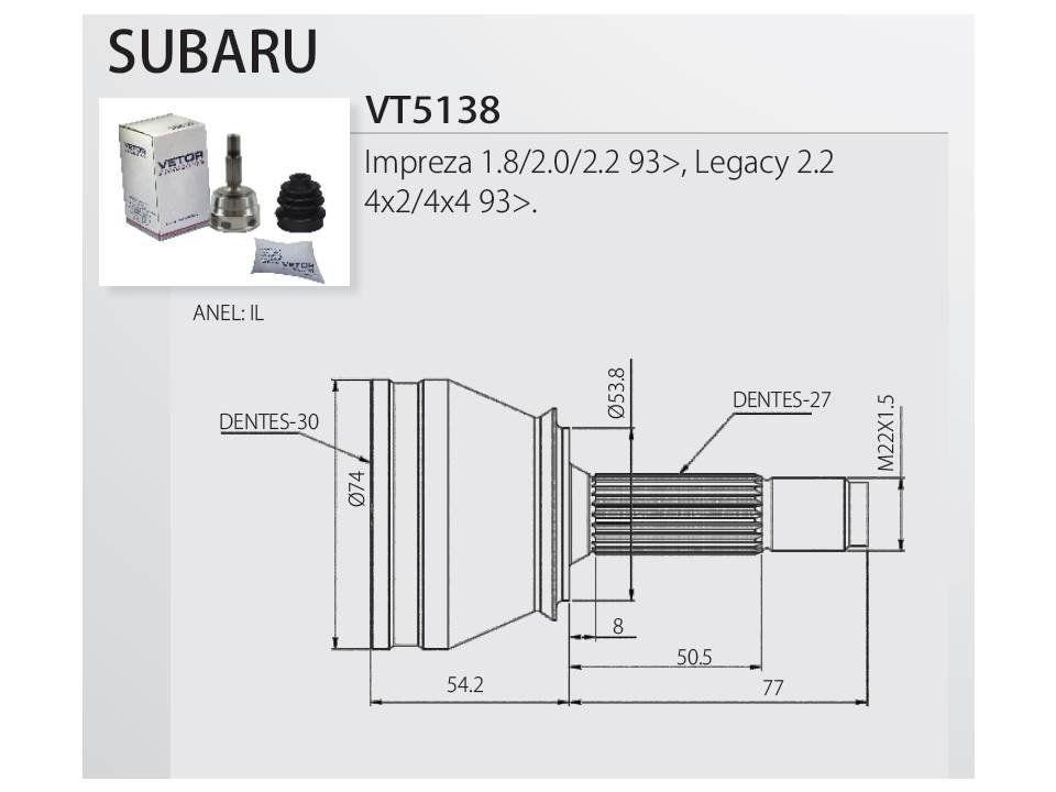 Junta Homocinética Subaru Impreza 1.8/2.0/2.2 -, Forester Outback 2008 até 2012 Legacy 2.2 4X2/4X4 - 2008 em diante
