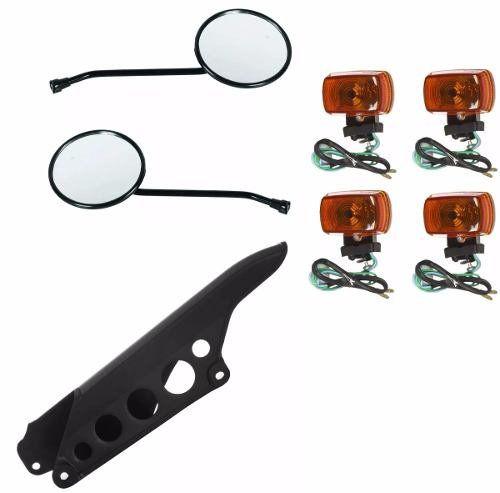 Protetor De Corrente + 4 Piscas + 2 Espelhos Honda Xlr 125