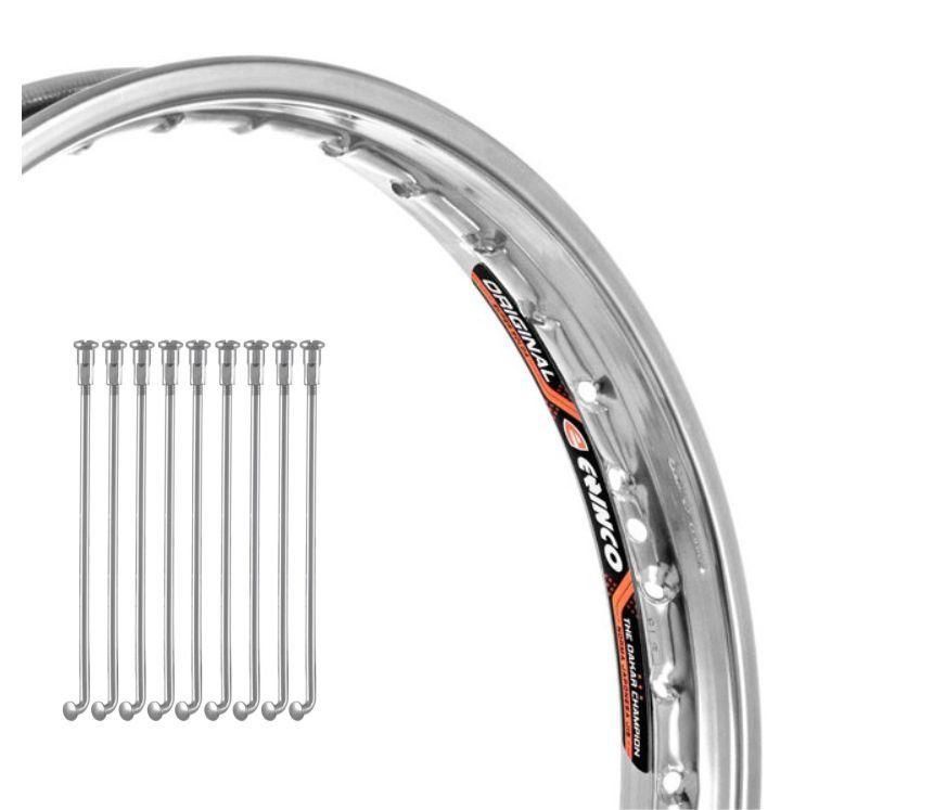 Aro de Moto Dianteiro 1.85 X 19 + Raio Cromado Honda Bros 125 Freio a Tambor - Eninco