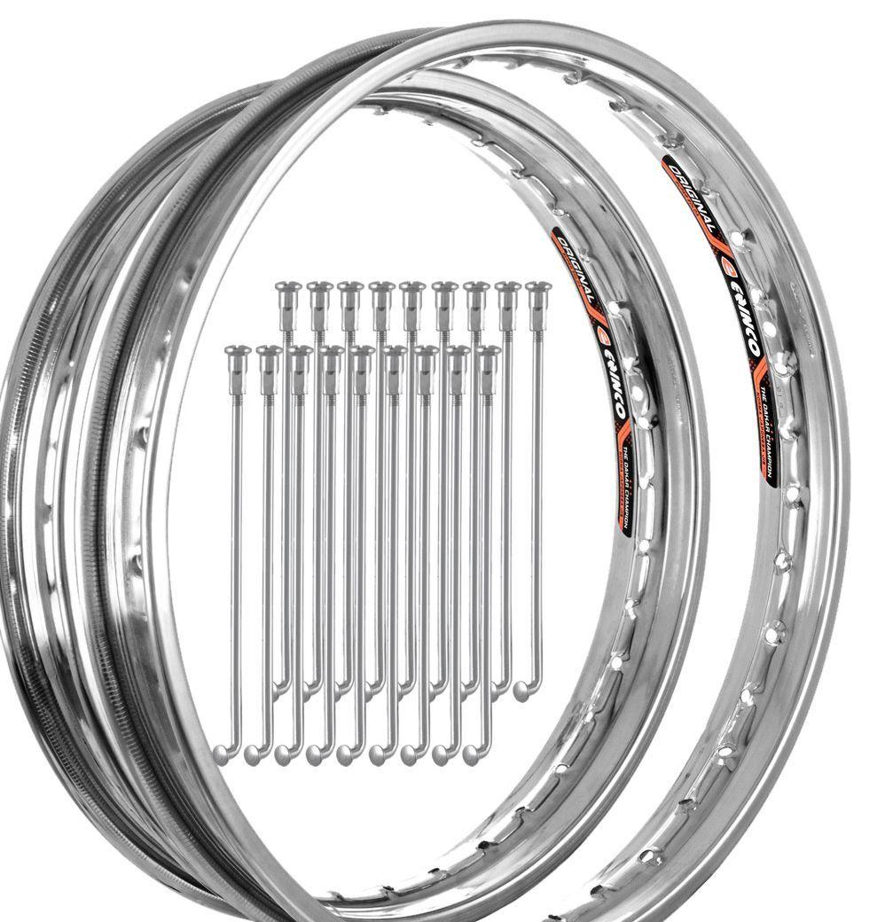 Aro + Raio Zincado Dianteiro e Traseiro Honda Titan 125 KS / ES 2000 / Titan 150 KS / ES / ESD - Cromado - Eninco