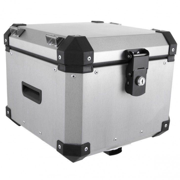 Bauleto Traseiro 35 Litros para Moto Roncar Aluminio Escovado E Preto