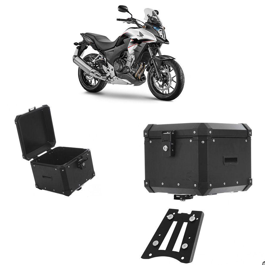 Bauleto Traseiro Roncar 35 Litros + Bagageiro de Chapa para Moto Honda Cb 500x Aluminio Preto