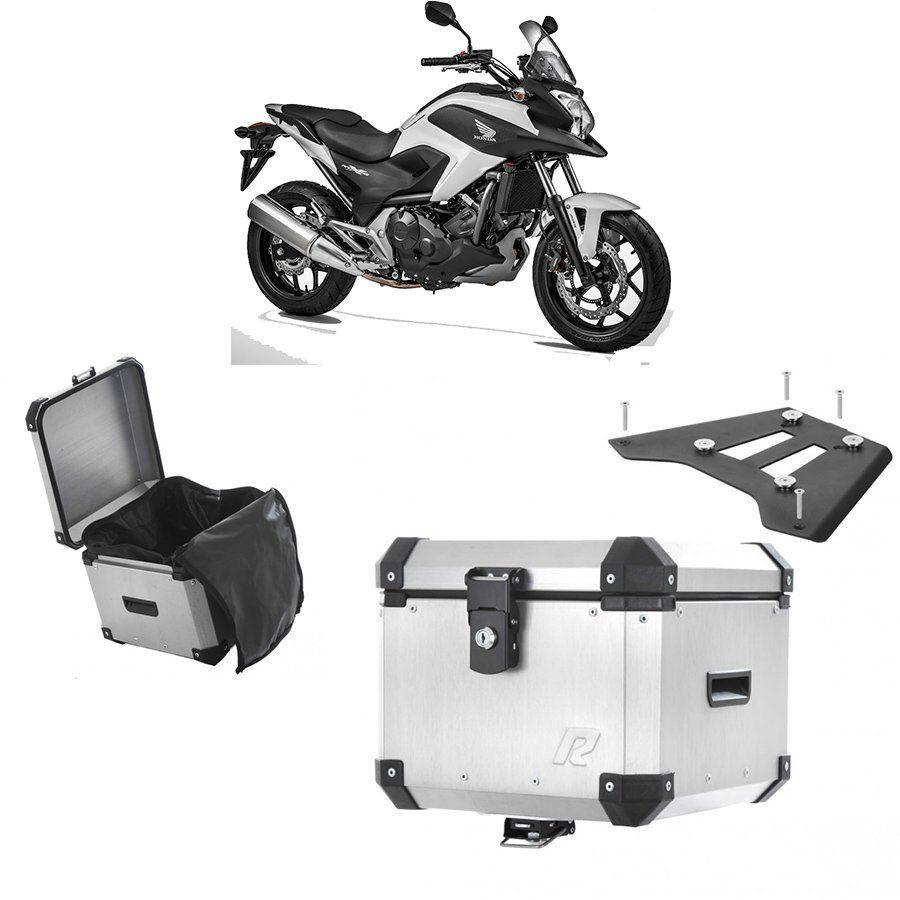 Bauleto Traseiro Roncar 35 Litros + Bagageiro de Chapa para Moto Honda Nc 700 Aluminio Escovado