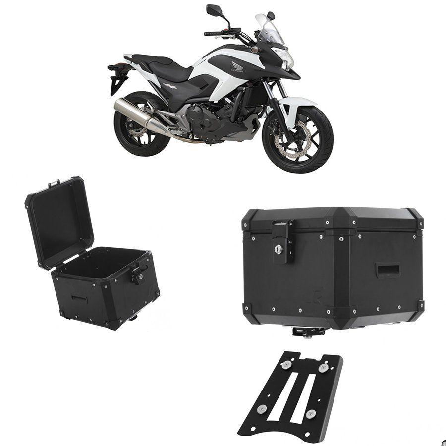 Bauleto Traseiro Roncar 35 Litros + Bagageiro de Chapa para Moto Honda Nc 700 Aluminio Preto