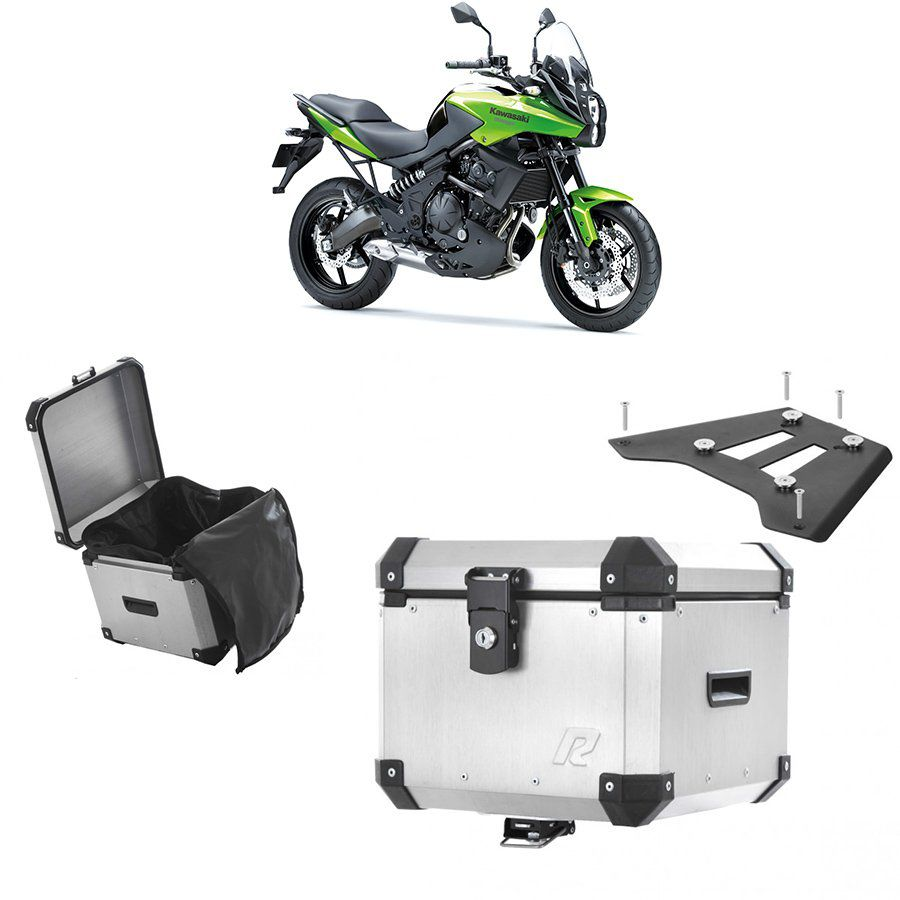 Bauleto Traseiro Roncar 35 Litros + Bagageiro de Chapa para Moto Kawasaki Versys 650 Aluminio Escovado