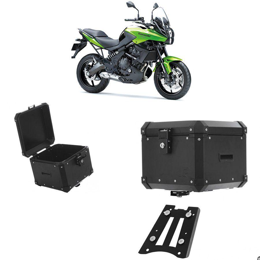 Bauleto Traseiro Roncar 35 Litros + Bagageiro de Chapa para Moto Kawasaki Versys 650 Aluminio Preto