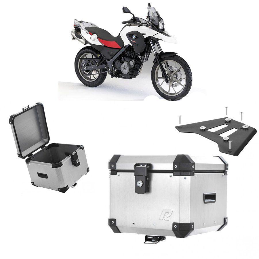Bauleto Traseiro Roncar 35 Litros + Base de Fixacao para Moto Bmw G 650 Gs 2010 A 2015 Aluminio Escovado