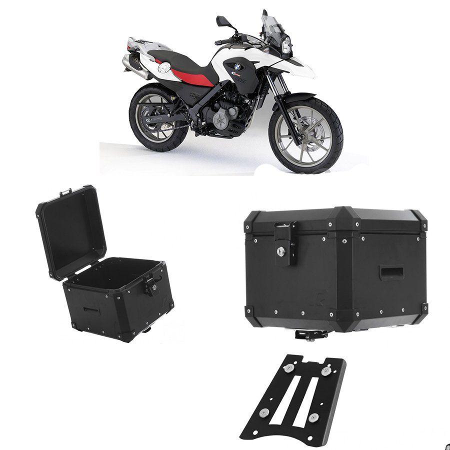 Bauleto Traseiro Roncar 35 Litros + Base de Fixacao para Moto Bmw G 650 Gs Aluminio Preto