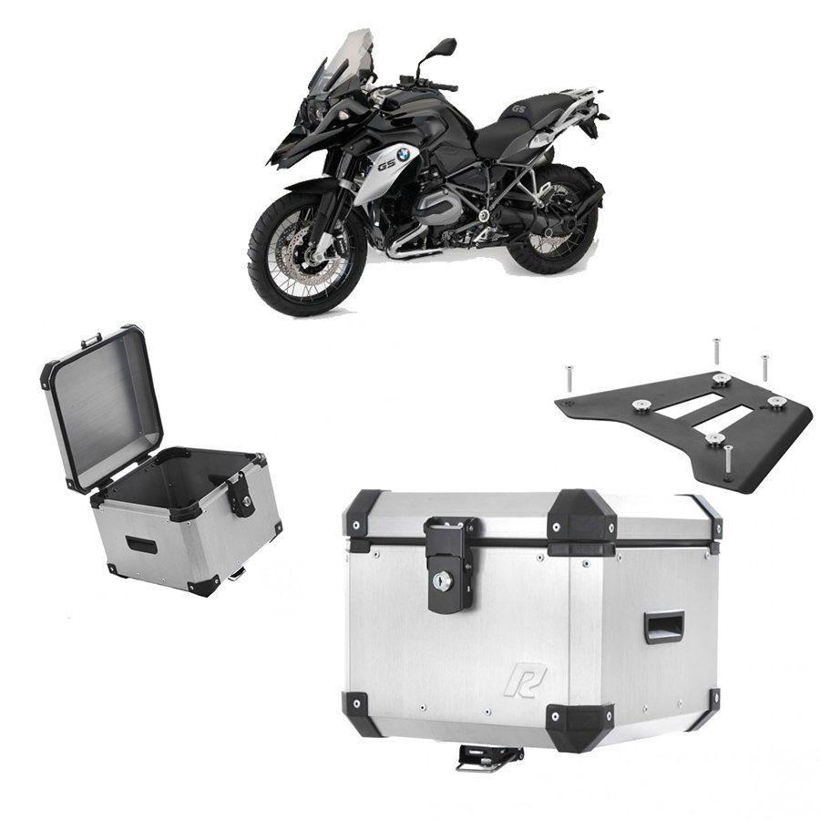 Bauleto Traseiro Roncar 35 Litros + Base de Fixacao para Moto Bmw R 1200 Gs Aluminio Escovado