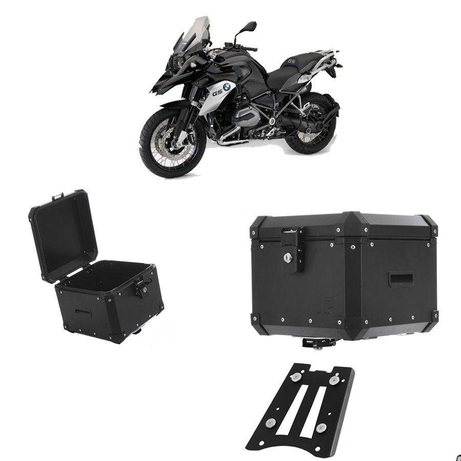 Bauleto Traseiro Roncar 35 Litros + Base de Fixacao para Moto Bmw R 1200 Gs Aluminio Preto