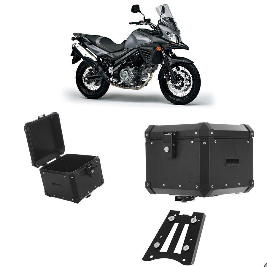 Bauleto Traseiro Roncar 35 Litros + Base de Fixacao para Moto Suzuki Dl 650/1000 V-Strom Aluminio Preto