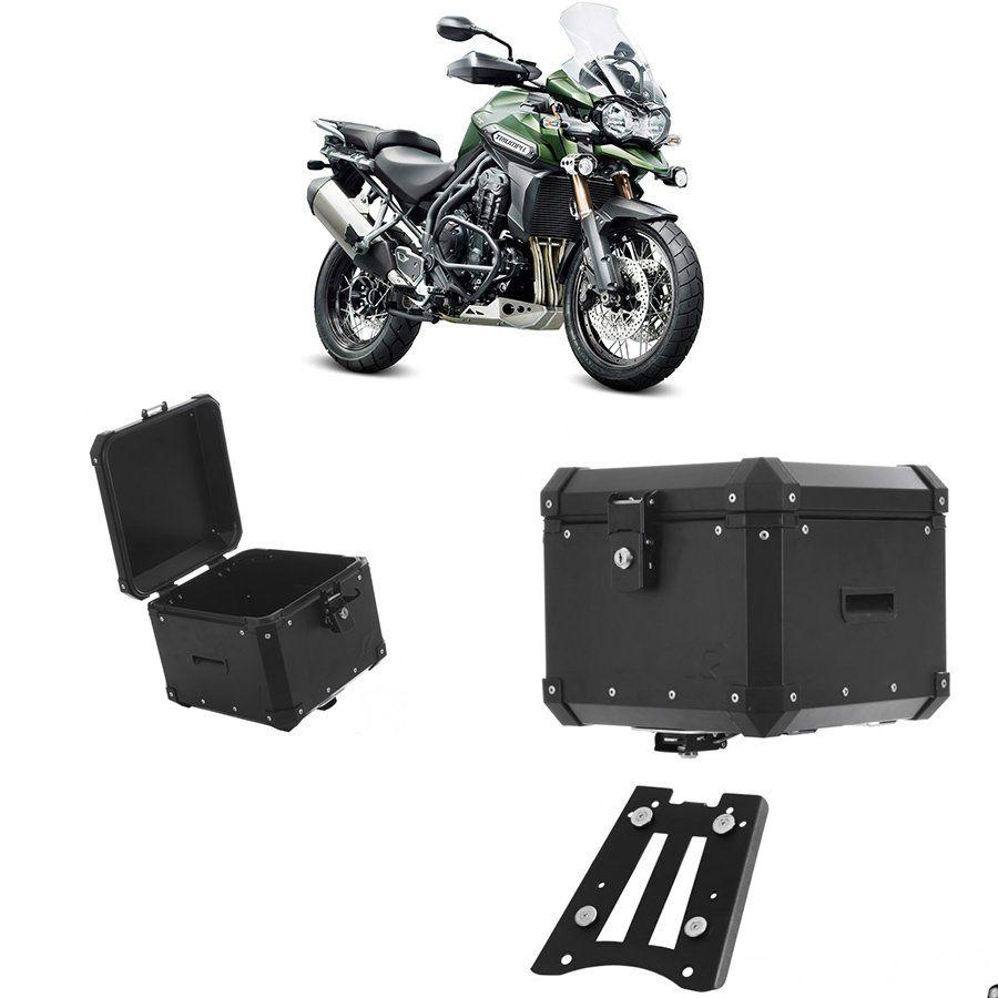 Bauleto Traseiro Roncar 35 Litros + Base de Fixacao para Moto Triumph Tiger 1200 Aluminio Preto