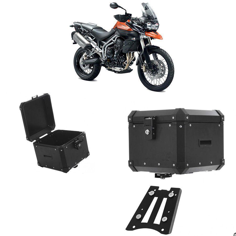 Bauleto Traseiro Roncar 35 Litros + Base de Fixacao para Moto Triumph Tiger 800 Aluminio Preto