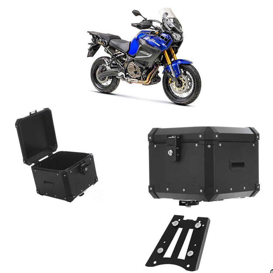 Bauleto Traseiro Roncar 35 Litros + Base de Fixacao para Moto Yamaha Super Tenere 1200 Aluminio Preto