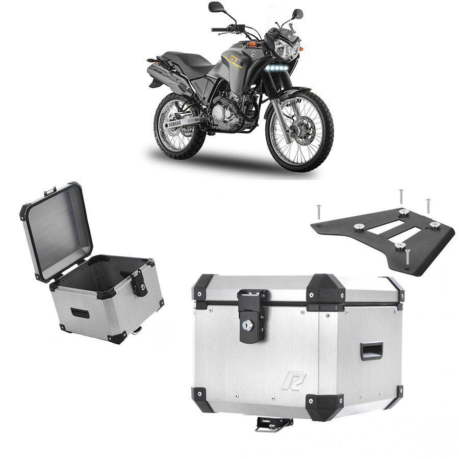 Bauleto Traseiro Roncar 35 Litros + Base de Fixacao para Moto Yamaha Tenere 250 Aluminio Escovado