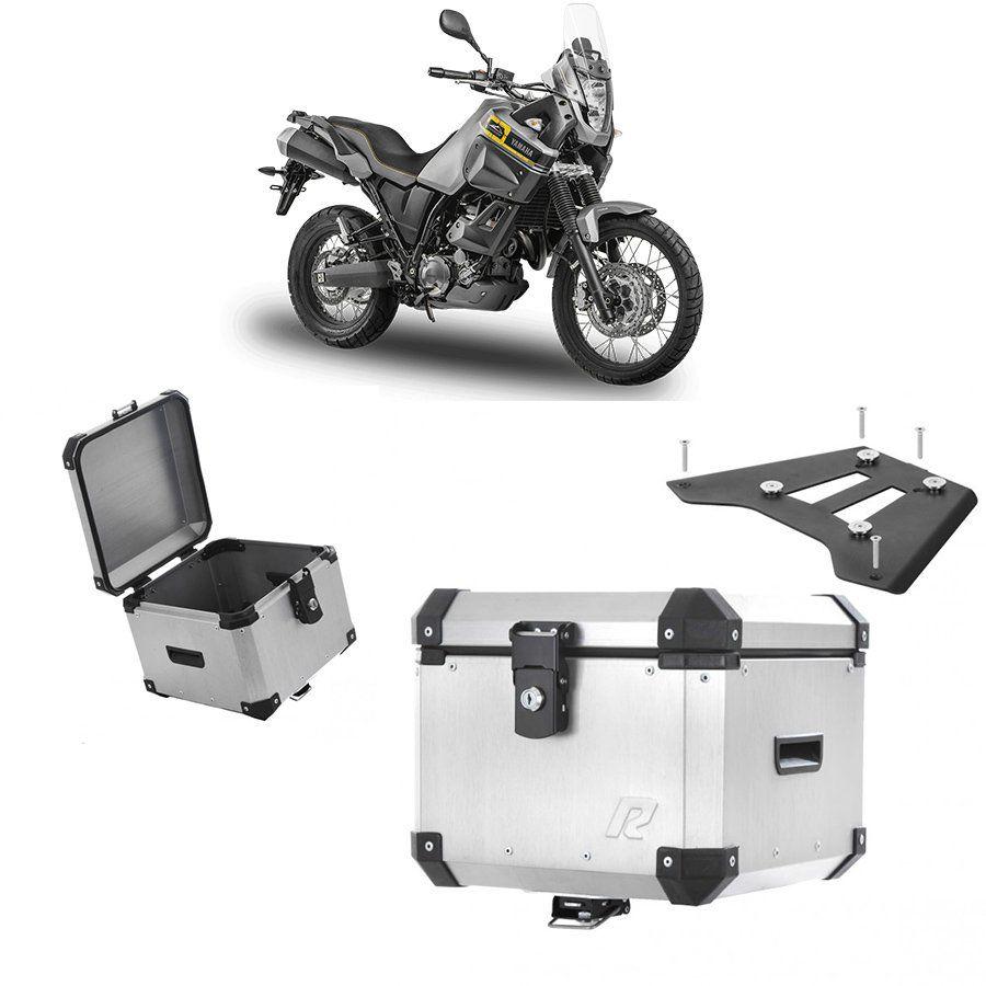 Bauleto Traseiro Roncar 35 Litros + Base de Fixacao para Moto Yamaha Tenere 660 Aluminio Escovado