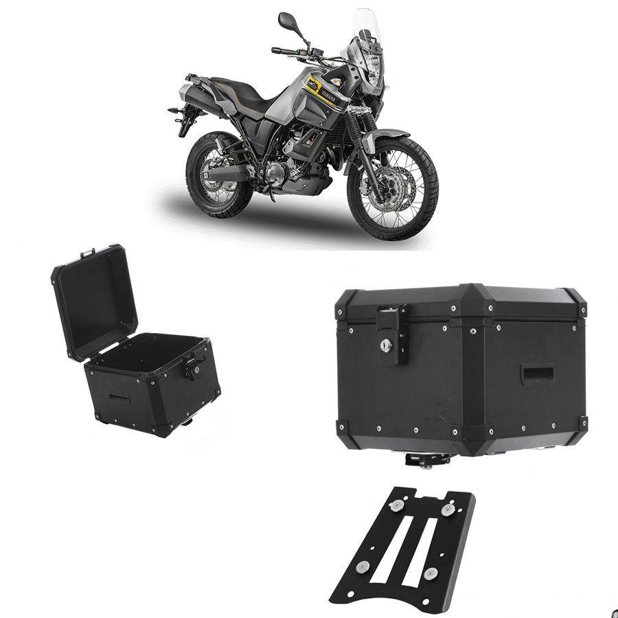 Bauleto Traseiro Roncar 35 Litros + Base de Fixacao para Moto Yamaha Tenere 660 Aluminio Preto