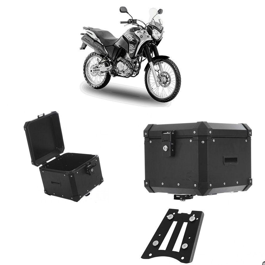 Bauleto Traseiro Roncar Em Alumínio Preto 35 Litros + Base de Fixação Jogo Yamaha Ténéré 250 2010 2015 Aluminio Preto
