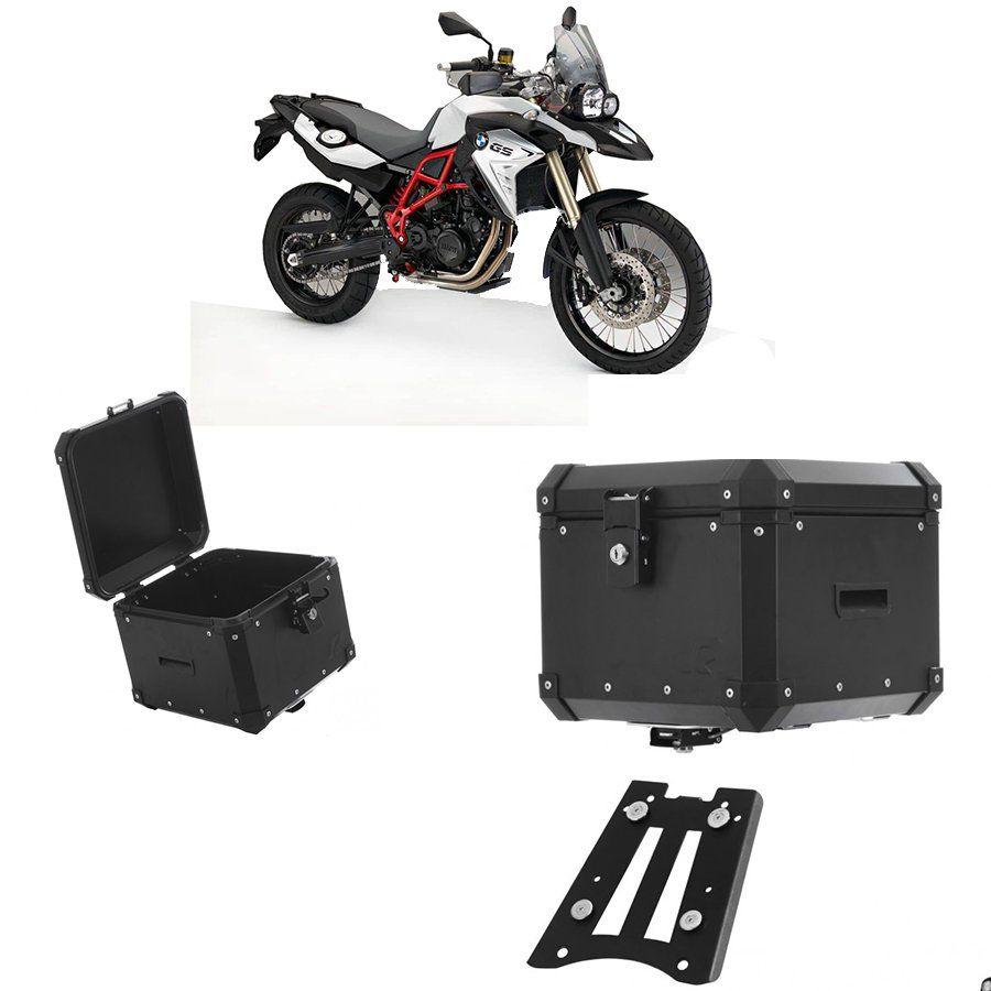 Bauleto Traseiro Roncar 35 Litros + Base de Fixacao para Moto Bmw F 800 Gs Aluminio Preto