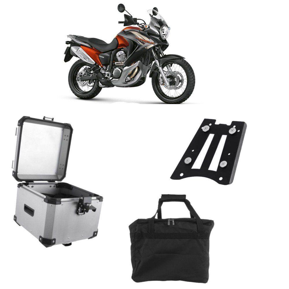 Bauleto Traseiro Roncar 35 Litros + Base de Fixacao para Moto Transalp 700 Aluminio Escovado