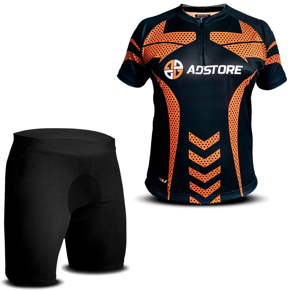 Camisa Bike Ciclismo Ultra Bikes Bermuda Térmica Proteção Preto Laranja