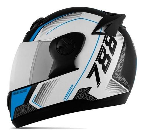 Capacete Moto Masculino Azul Pro Tork Com Viseira Espelhada