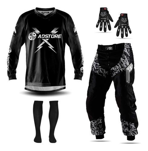Conjunto Calça Camisa Motocross Trilha Insane Ad Store Black + Luva Meião