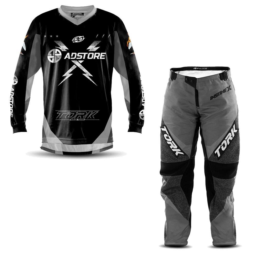 Calça e Camisa Motocross AD Store Team Cinza