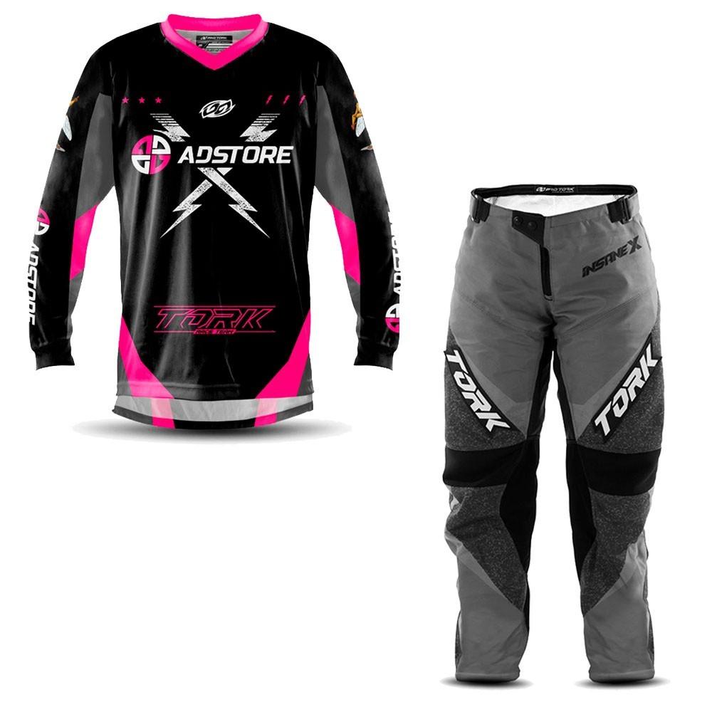Calça e Camisa Motocross AD Store Team Rosa