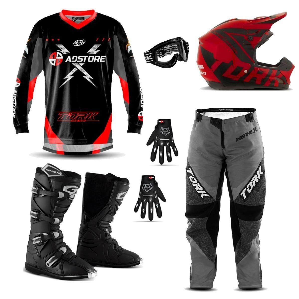 Kit Conjunto Equipamento Motocross Trilha Ad Store X Vermelho Factory Edition