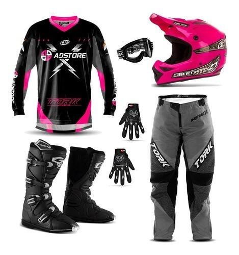 Kit Conjunto Equipamento Trilha Motocross Ad Store X Rosa Mx Pro