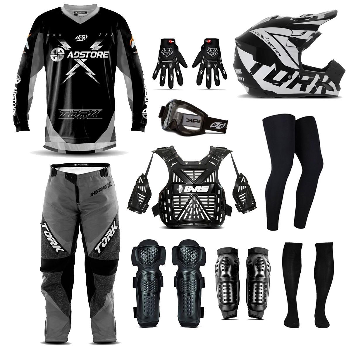 Kit Equipamento 10 Itens Conjunto Motocross Trilha Ad Store X Cinza Factory Edition