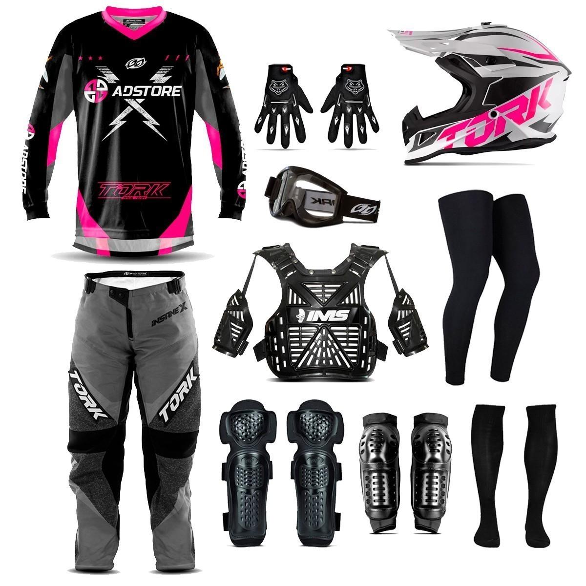 Kit Equipamento 10 Itens Conjunto Motocross Trilha Ad Store X Rosa Fast 788