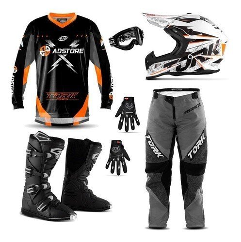Kit Equipamento Conjunto Trilha Motocross Ad Store X Laranja Fast Skull