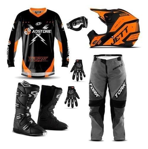 Kit Equipamento Conjunto Trilha Motocross Ad Store X Laranja Jett Evolution 2
