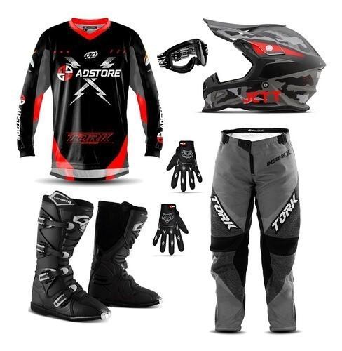 Kit Equipamento Conjunto Trilha Motocross Ad Store X Vermelho Fast Camuflado