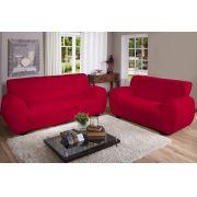 Capa Sofá Malha Dupla 2 E 3 Lug Vermelha
