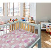 Coberto Baby 110 x 90 Microfibra Patchwork Camesa - ROSA