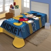 Cobertor Jolitex Solteiro Raschel Toque Super Macio Mickey Feliz