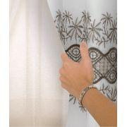 Cortina Para Sala Com Voil Bordado e Forro 300x250 Andria Caqui