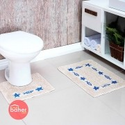 Tapete De Banheiro Náutico 2 Peças 100% Algodão | Baher