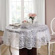 Toalha de mesa Redonda 4 lugares de Crochê Rosas 160 cm | Lepper