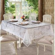 Toalha de mesa Retangular 8 lugares de Crochê Rosas 1,55 x 2,50 m | Lepper