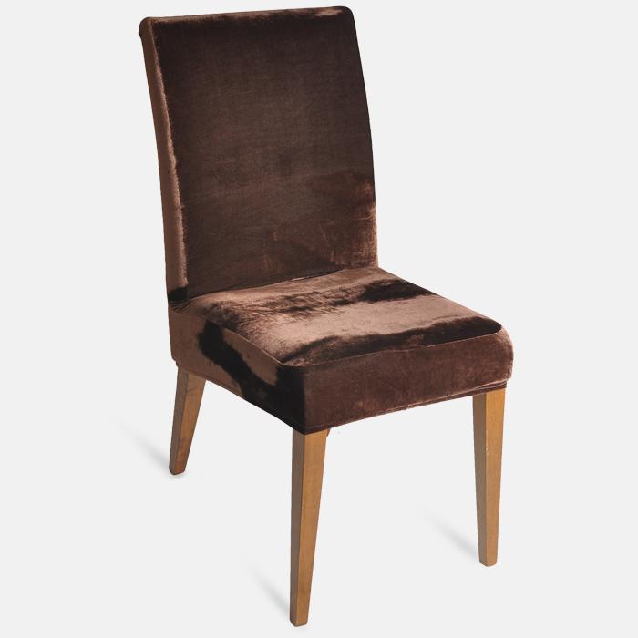 Capa de Cadeira Em Veludo Marrom Jolitex