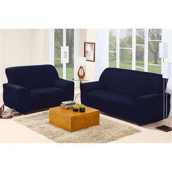 Capa Sofá Malha Dupla 2 E 3 Lug Azul