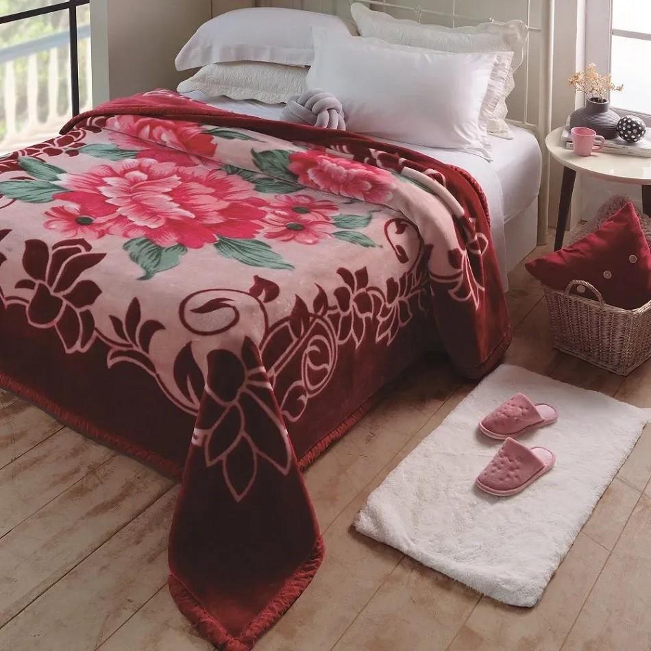 Cobertor Jolitex King Raschel Plus Irtich 2,20x 2,40m Vinho
