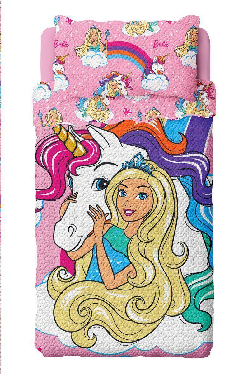 Colcha Dupla Face Solteiro Bouti Barbie Reinos Magicos   Lepper