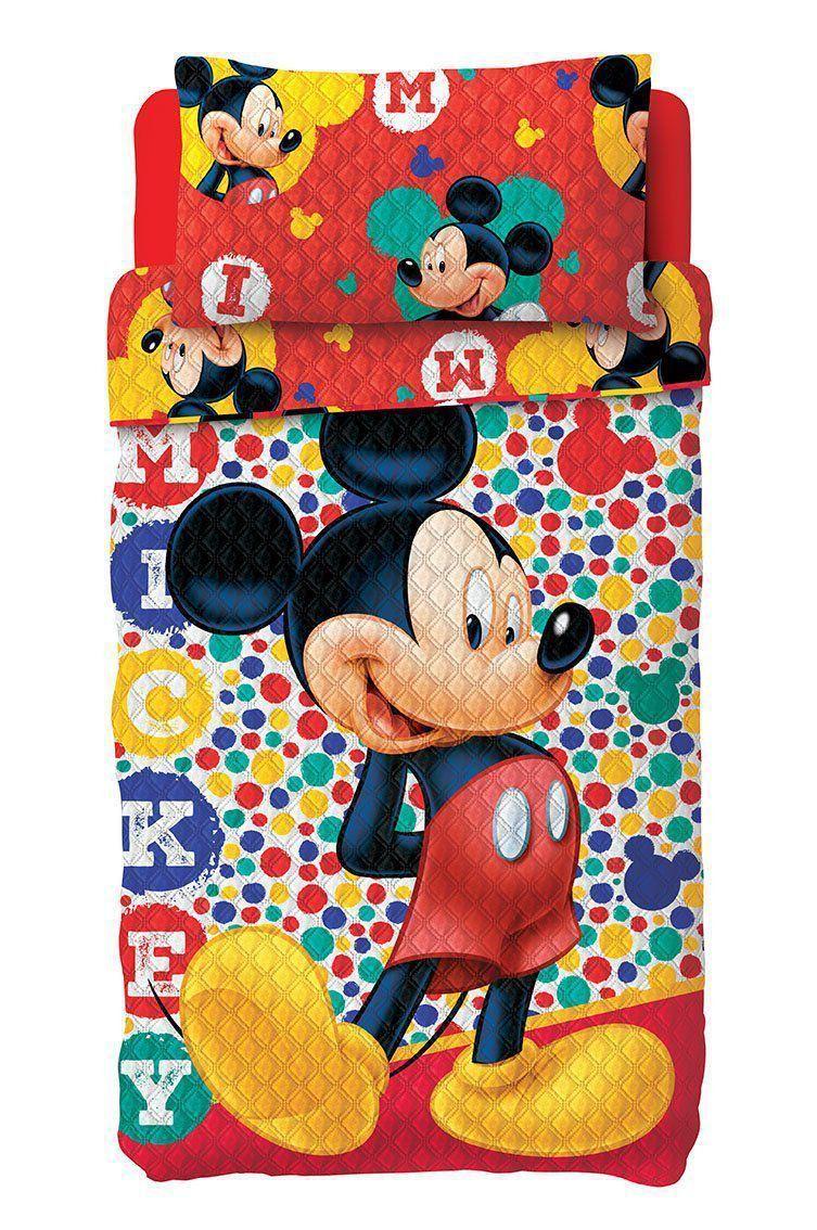 Colcha Dupla Face Solteiro Bouti Mickey 2 Peças Lepper