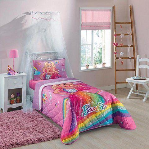 Colcha Matelassê Solteiro Barbie Reino do Arco-Íris - Lepper