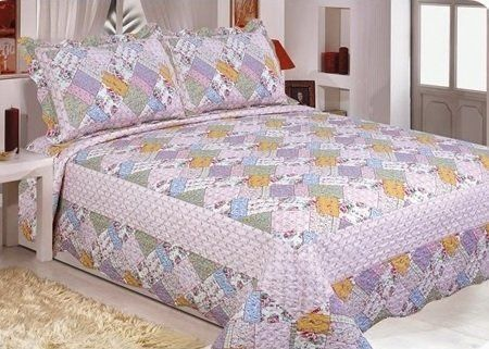 Colcha Patchwork Casal Gigante Serve P/ Box Realce Top